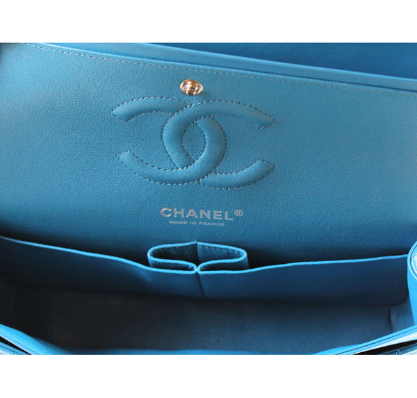 Chanel Classic Jumbo Flap Bag Light Blue Used Embossing