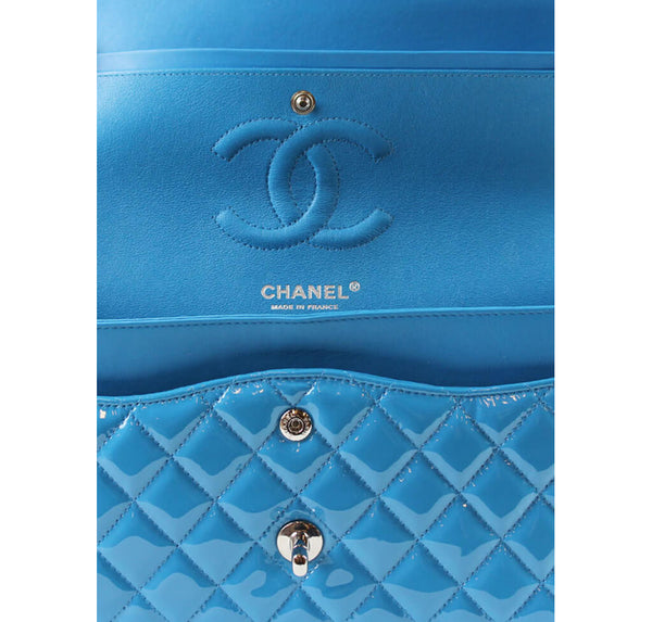 Chanel Classic Jumbo Flap Bag Light Blue Used Detail