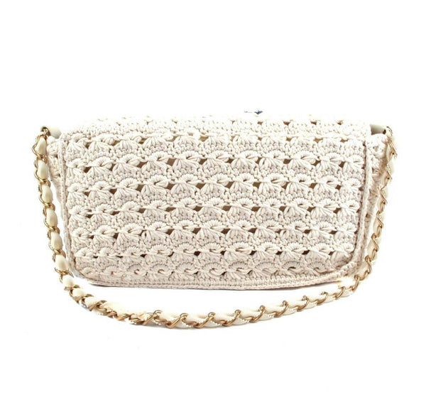 Chanel Crocheted Knit Camelllia Runway Bag New Back