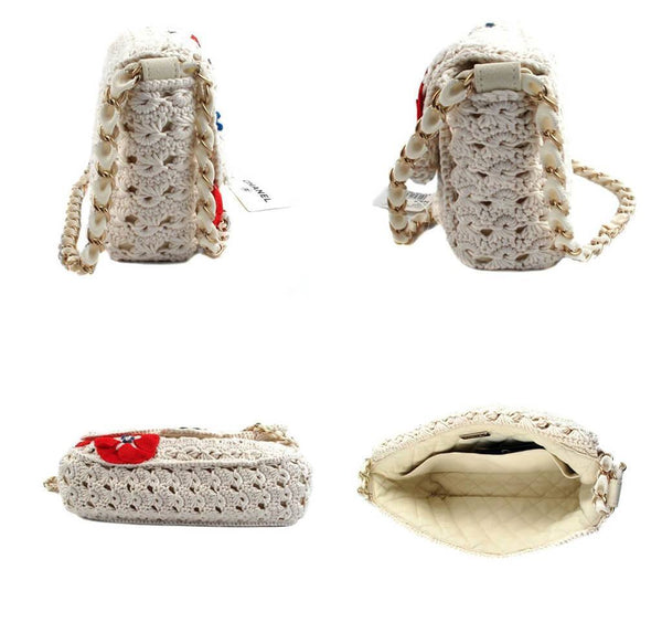 Chanel Crocheted Knit Camelllia Runway Bag New Sides