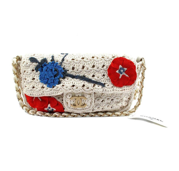 Chanel Crocheted Knit Camelllia Runway Bag New Front