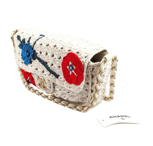 Chanel Crocheted Knit Camelllia Runway Bag New Side