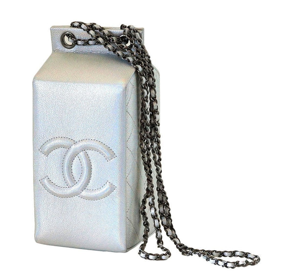 Chanel Lait de coco milk carton limited edition bag silver new back