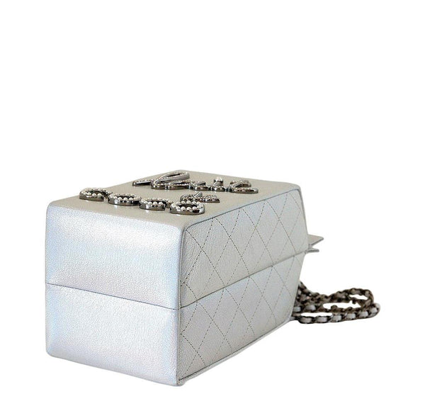 Chanel Lait decoco milk carton limited edition bag silver new bottom