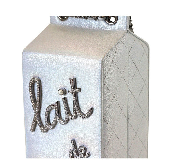 Chanel Lait de coco milk carton limited edition bag silver new detail