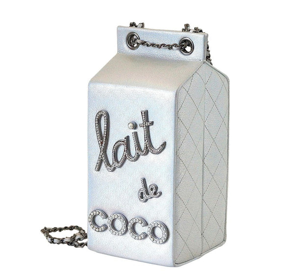 Chanel Lait de coco milk carton limited edition bag silver new side