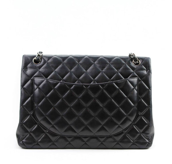 Chanel Maxi Shoulder Flap Bag Black Used Back