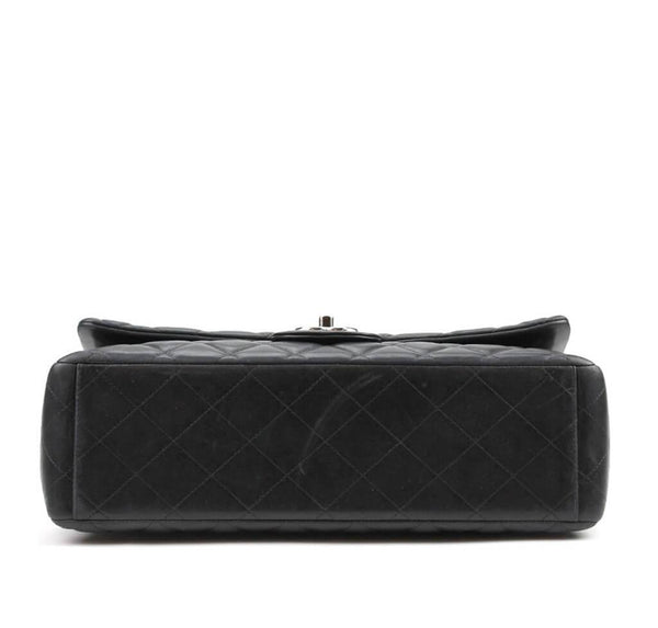 Chanel Maxi Shoulder Flap Bag Black Used Bottom