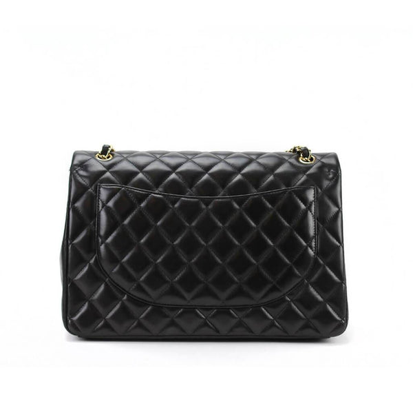 Chanel Maxi Shoulder Bag Black Used Back