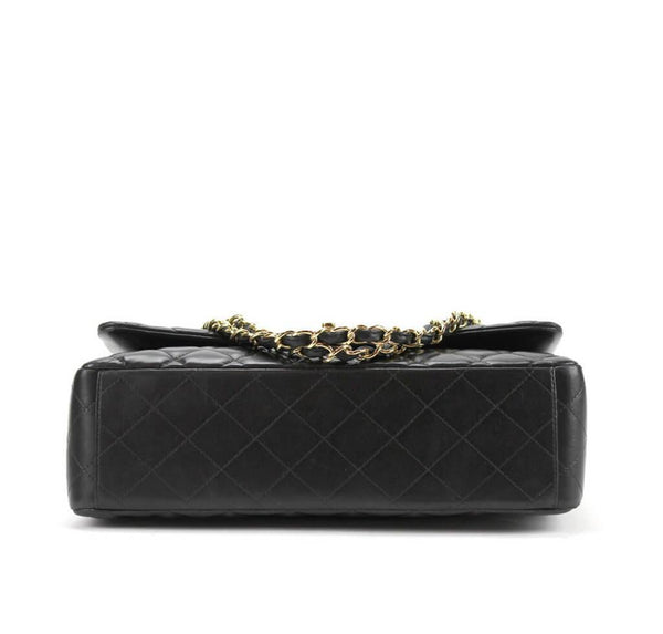 Chanel Maxi Shoulder Bag Black Used Bottom