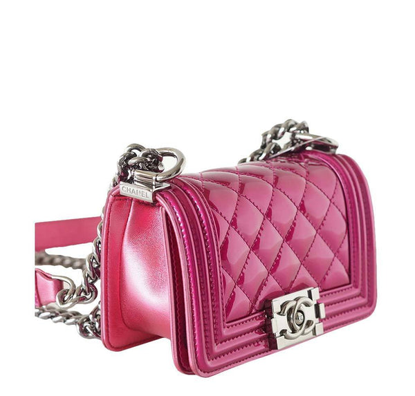 Chanel Mini Boy Bag Fuschia New Side
