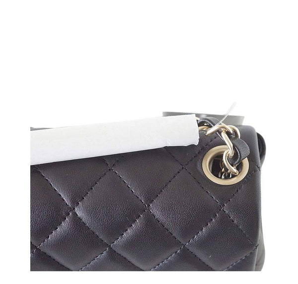Chanel Mini Square Flap Bag Black New Detail