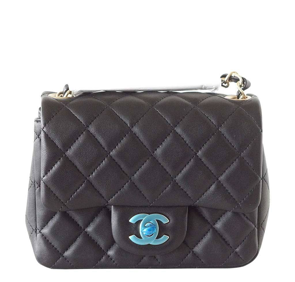 9f683372780494 Chanel Mini Square Bag Black Lambskin Chanel Mini Square Flap ...