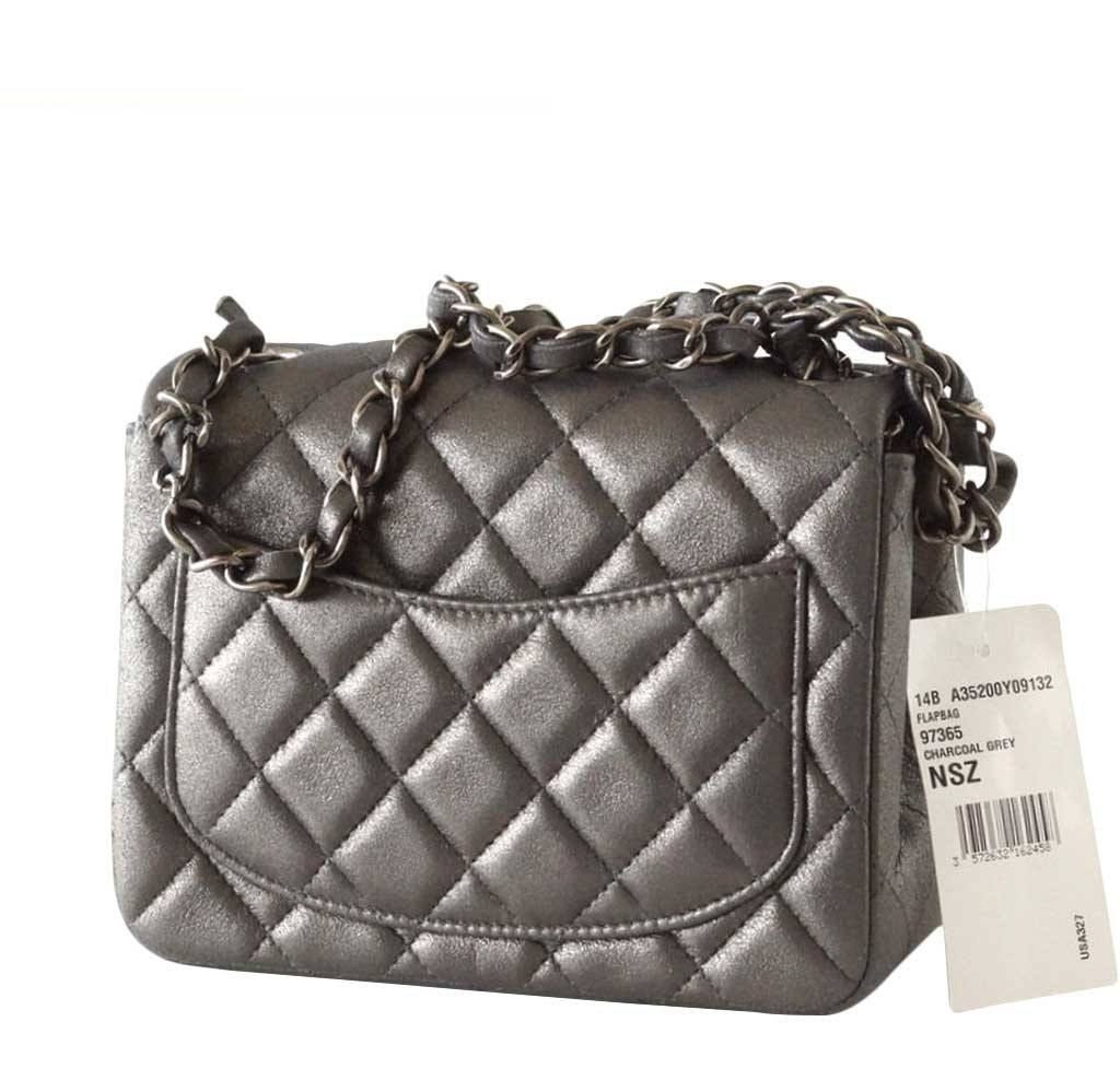 c2de85ad17db93 Chanel Mini Square Flap Bag Charcoal Gray - Goatskin | Baghunter