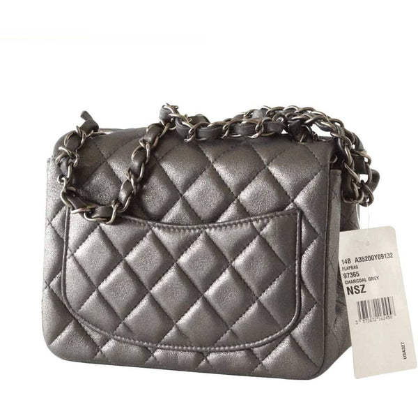 Chanel Mini Square Flap Bag Charcoal Gray New Back