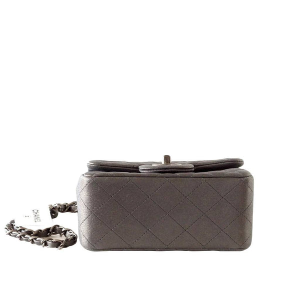 Chanel Mini Square Flap Bag Charcoal Gray New Bottom