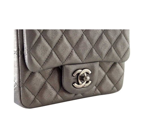Chanel Mini Square Flap Bag Charcoal Gray New Detail