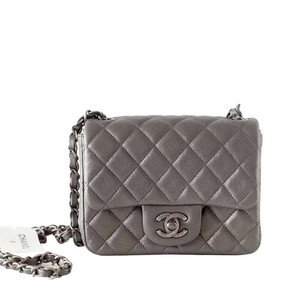 Chanel Mini Square Flap Bag Charcoal Gray New Front
