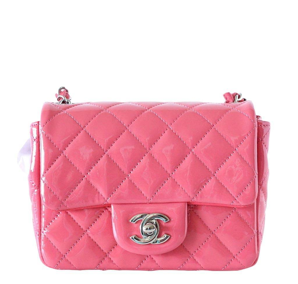 5b6558db37133 Chanel mini square flap bag rose pink patent leather baghunter jpg 1024x978 Chanel  mini pink