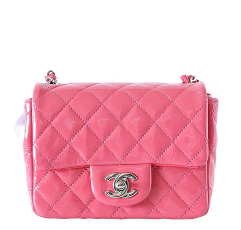 Chanel Pink Patent Mini Square Bag