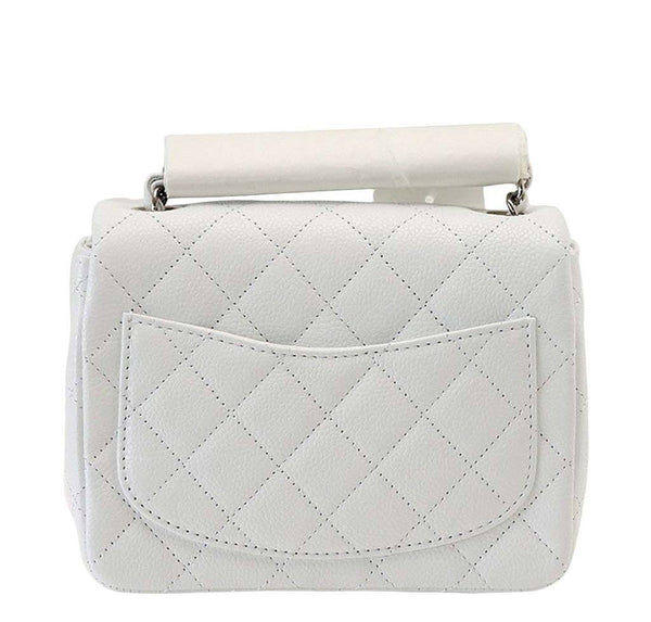 Chanel Mini Square Flap Bag White New Back