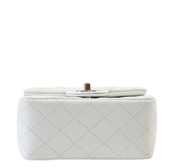 Chanel Mini Square Flap Bag White New Bottom