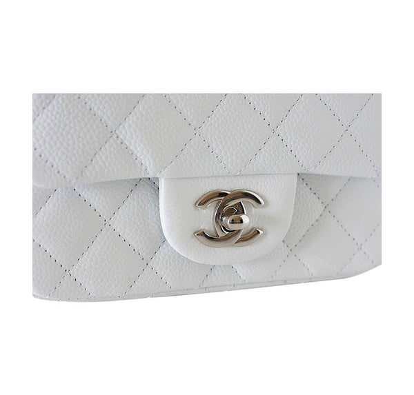 Chanel Mini Square Flap Bag White New Closure