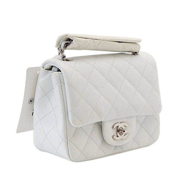 Chanel Mini Square Flap Bag White New Side