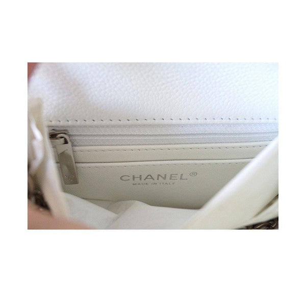 Chanel Mini Square Flap Bag White New Zipper
