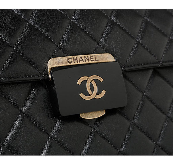 Chanel Quilted Tote Bag Black Used Engraving