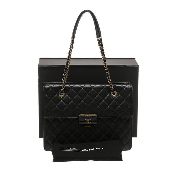 Chanel Quilted Tote Bag Black Used Overview