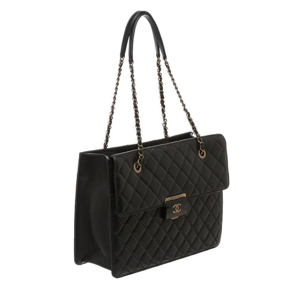 Chanel Quilted Tote Bag Black Used Side