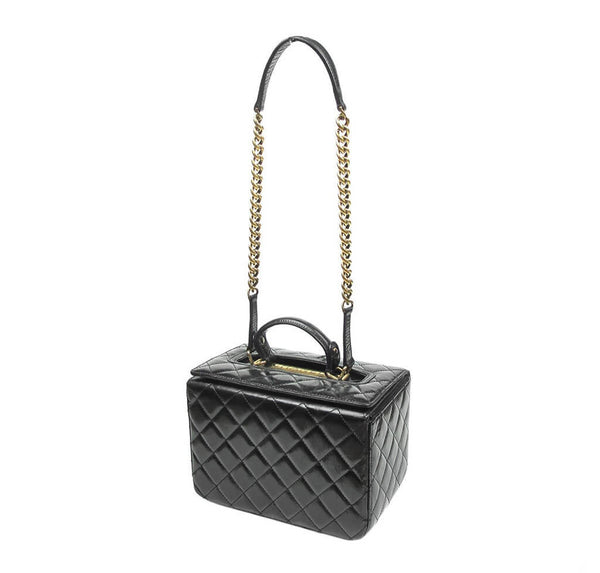 Chanel Vanity Bag Black Used Side