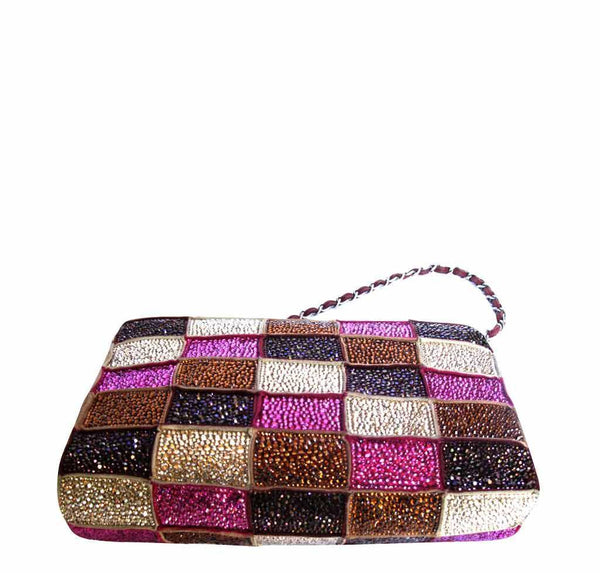 chanel crystal bag special multi color used bottom