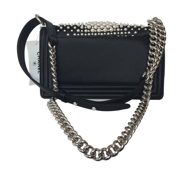 Chanel pearl boy bag limited edition new back