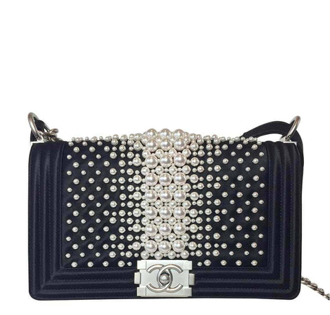 Chanel Pearl Boy Bag Black