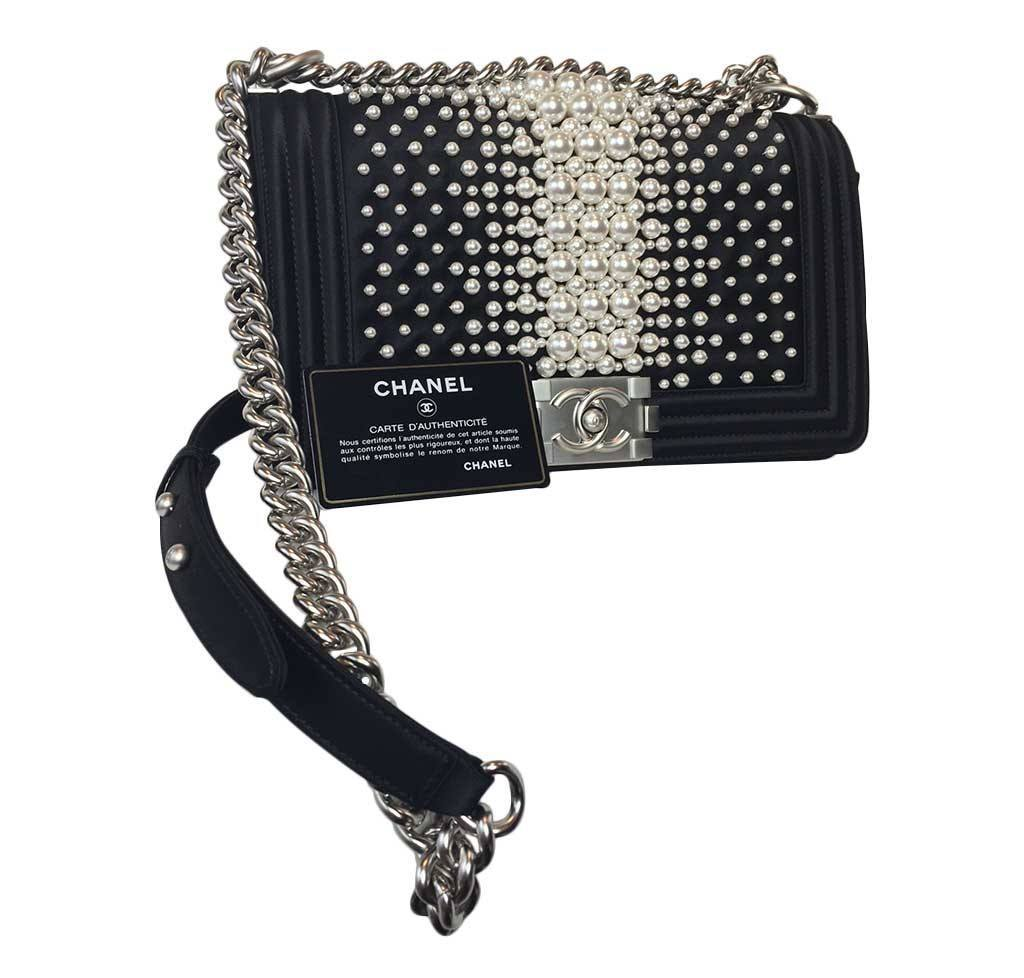 ... Chanel pearl boy bag limited edition new full ... a453bc1f9434b