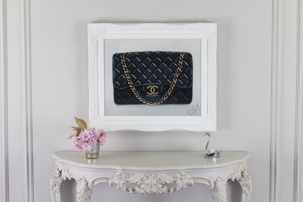 Original Timeless Chanel Painting on Wall With Swan