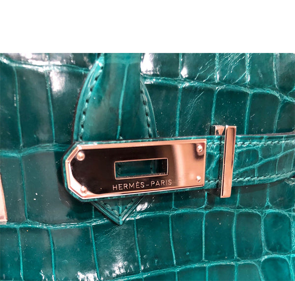 Hermes Birkin 30 Emeraude green Niloticus Crocodile Gold excellent clasp