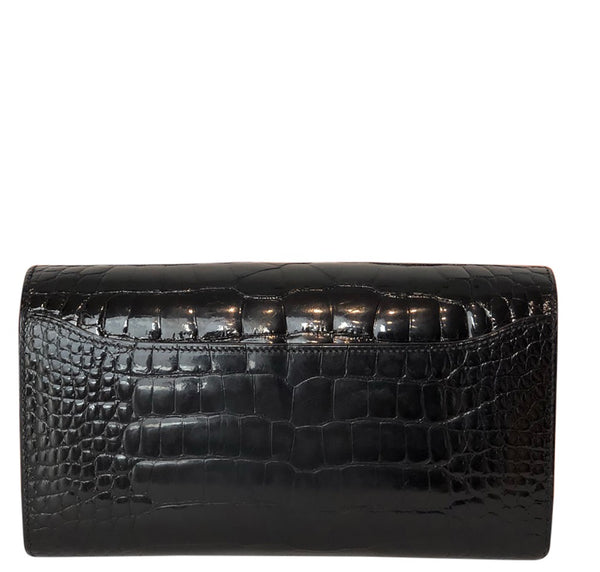 Hermes Constance Long Wallet Alligator Noir Clutch excellent back