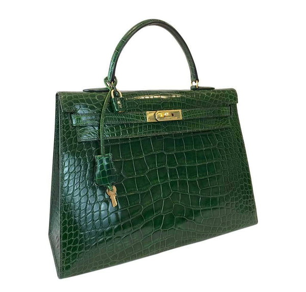 hermes kelly sellier 35 vert emerald used front