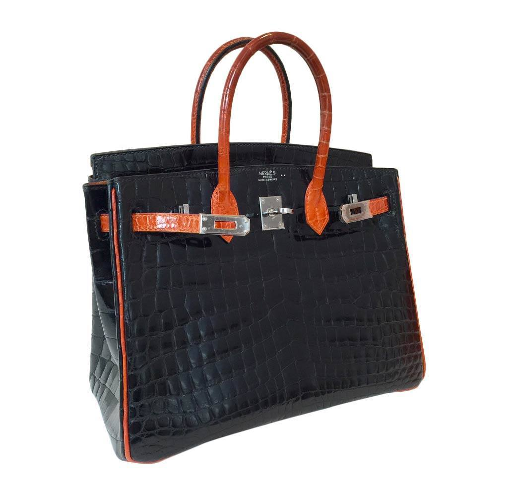 961d496699 ... hermes birkin 25 red black crocodile special order used side ...