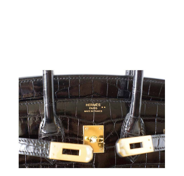 Hermes Birkin 25 Black Crocodile New Embossing