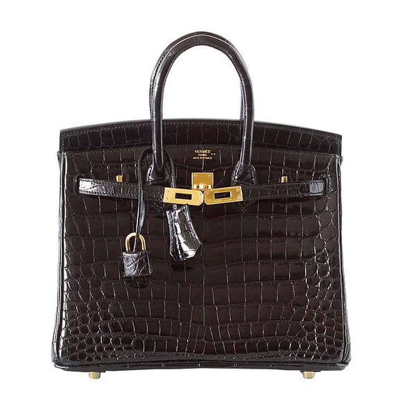 Hermes Birkin 25 Black Crocodile New Front Open