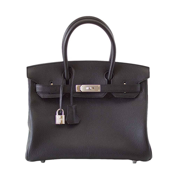 Hermes Birkin 30 Bag Black Chevre