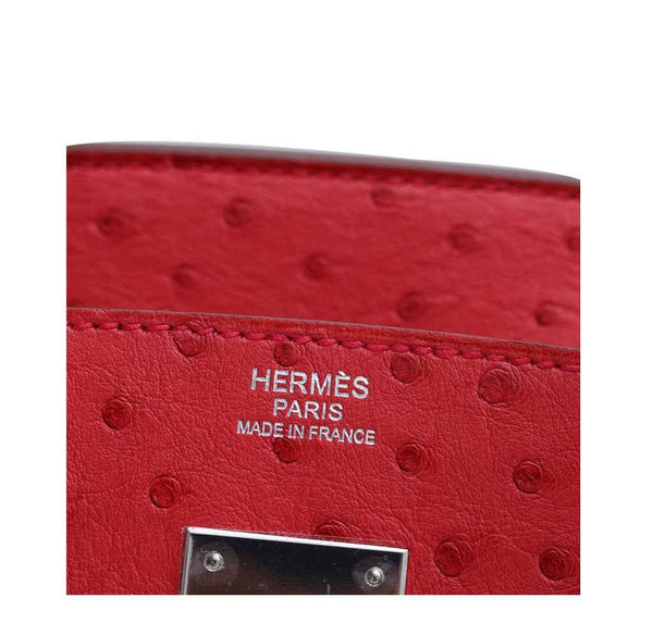Hermes Birkin 30 Ostrich Red New Embossing