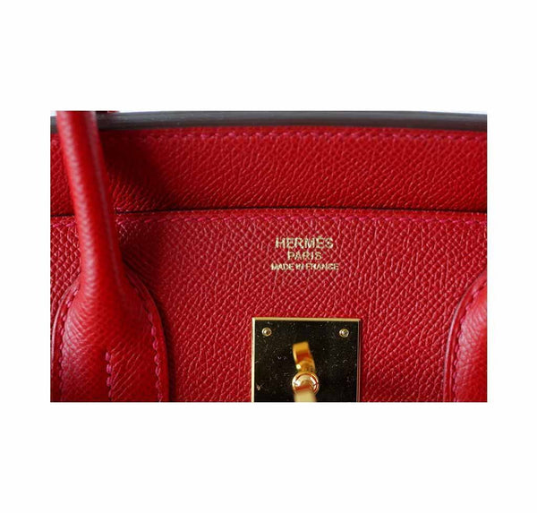 Hermes Birkin 30 Rouge Casaque Used Embossing