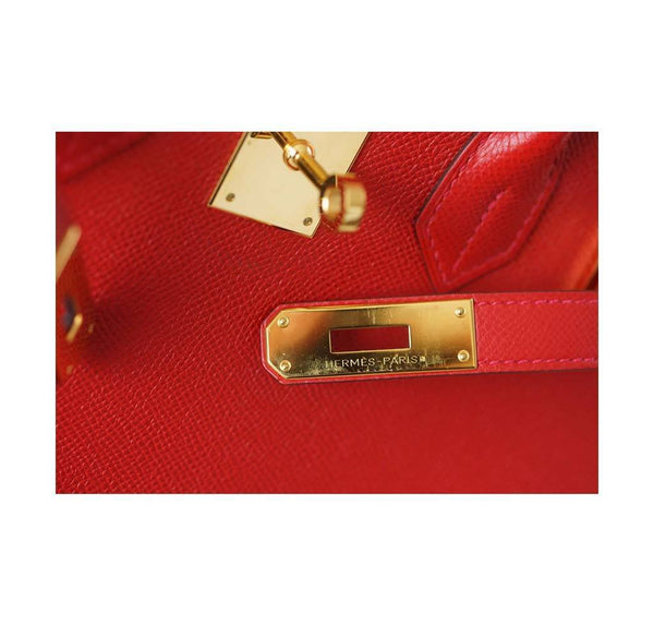 Hermes Birkin 30 Rouge Casaque Used Engraving