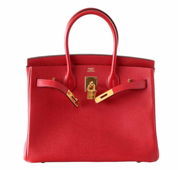 Hermes Birkin 30 Rouge Casaque Used Front Open