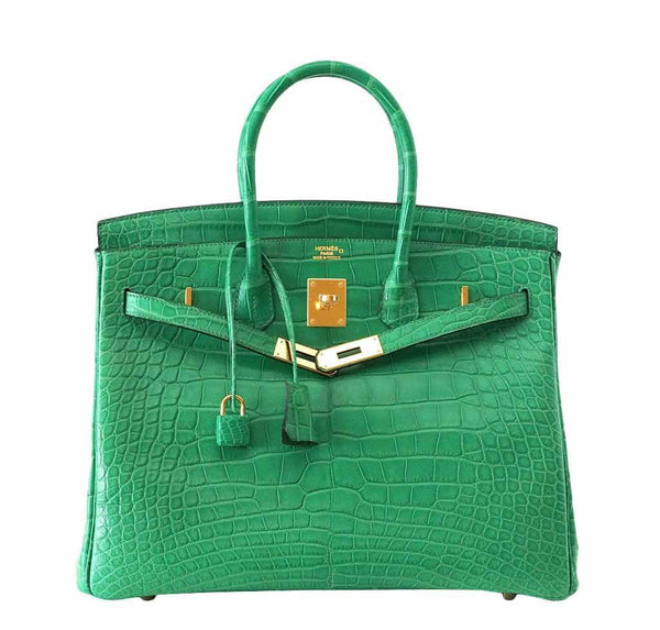 Hermes Birkin 35 Alligator Cactus New Front Open